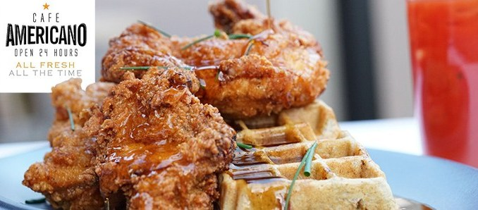 Cafe Americano's – FRIED CHICKEN AND BLUE CORN WAFFLE