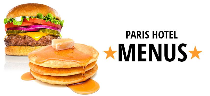 Paris Hotel Menus